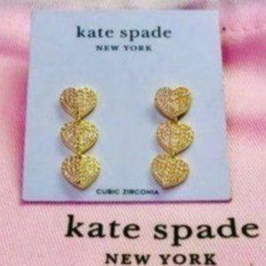 NWT! Kate Spade pave triple heart earrings